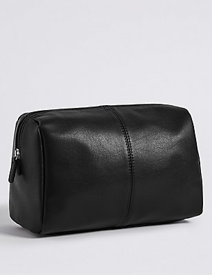 Smooth Faux Leather Washbag, , catlanding
