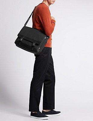 Scuff Resistant Cordura® Messenger Bag, BLACK, catlanding