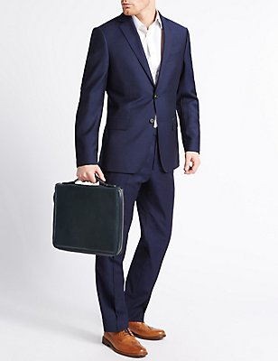 Smooth Leather Folio, NAVY, catlanding