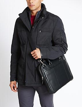 Leather Laptop Bag, NAVY, catlanding
