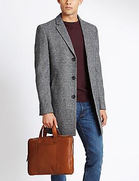 Leather Derby Laptop Bag, TAN, catlanding