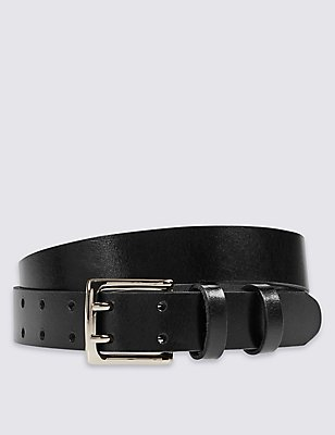 Leather Double Prong Buckle Belt, BLACK, catlanding