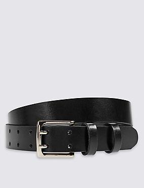 Leather Double Prong Buckle Belt, BLACK, catlanding