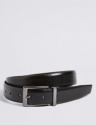 Coated Leather Buckle Reversible Belt, BROWN/BLACK, catlanding