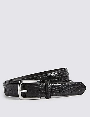 Mock Croc Leather Belt, BLACK, catlanding