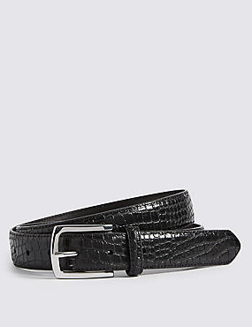 Mock Croc Leather Belt, BLACK, catlanding