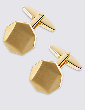 Octagon Brushed Cufflinks, YELLOW, catlanding