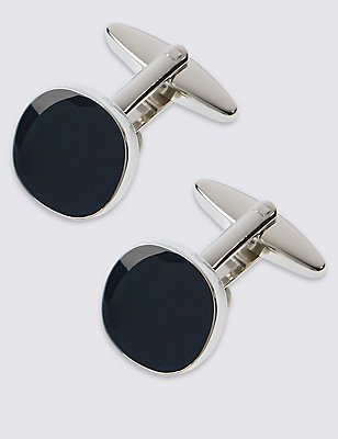 Square Navy Centre Cufflinks, NAVY, catlanding