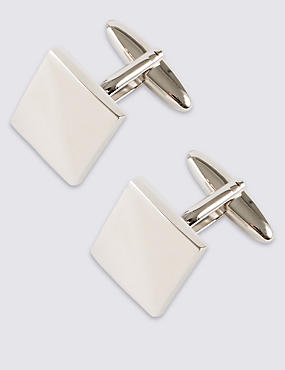 Square Cufflinks, WHITE, catlanding