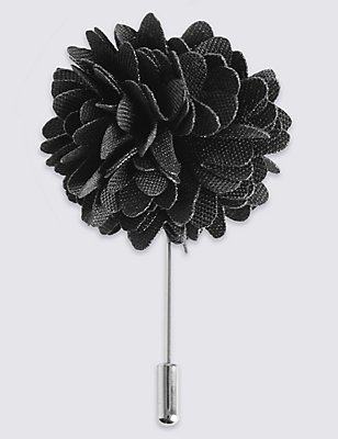 Flower Lapel Pin, CHARCOAL, catlanding