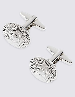 Oval Spiral Textured Cufflinks, WHITE, catlanding