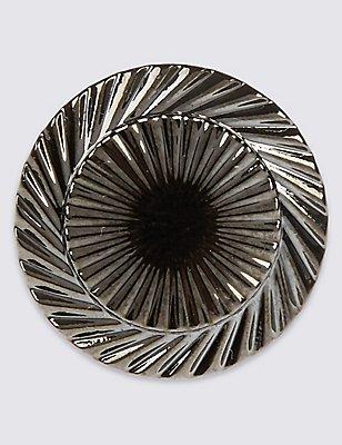 Text Round Lapel Pin, GUNMETAL, catlanding