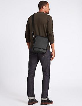 Textured Cross Body Bag, BLACK, catlanding