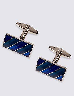 Horizontal Tonal Striped Cufflinks, MULTI, catlanding