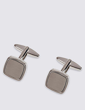 Brushed Square Cufflinks, WHITE, catlanding