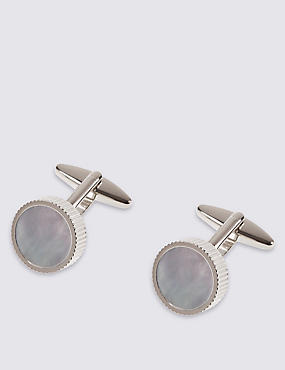 Mother of Pearl Cufflinks , WHITE, catlanding
