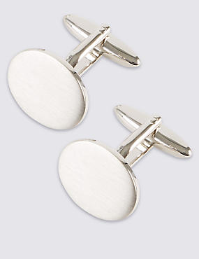 Brushed Oval Cufflinks, WHITE, catlanding