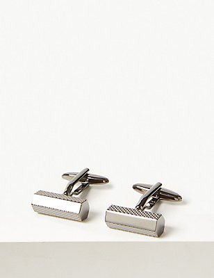 Textured Barrel Cufflinks, GUNMETAL, catlanding