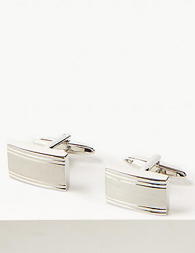 Textured Rectangle Cufflinks, WHITE, catlanding