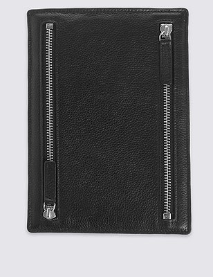 Leather Document Slip Folio, BLACK, catlanding