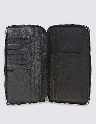 Leather Travel Wallet with Cardsafe™, BLACK, catlanding