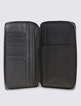 Leather Travel Wallet with Cardsafe™, BLACK, catlanding