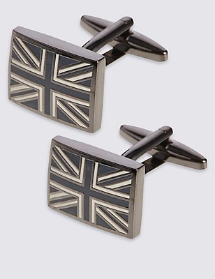 Union Jack Cufflinks, BLACK MIX, catlanding