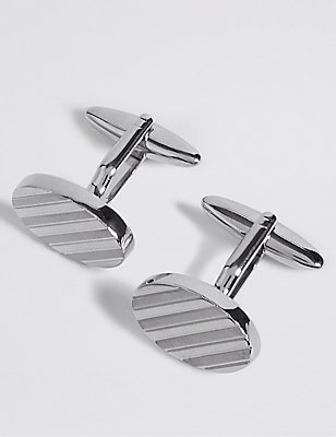 Oval Striped Cufflinks, SILVER, catlanding