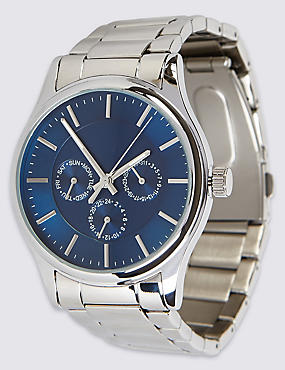 Stainless Steel Round Face Watch, , catlanding