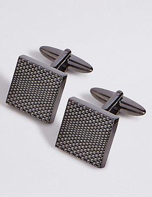 Strukturierte Manschettenknöpfe aus Metall, METALLISCHES BLAUGRAU, catlanding