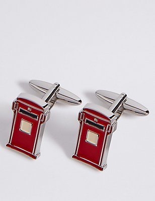 Letter Box Cufflinks, RED, catlanding