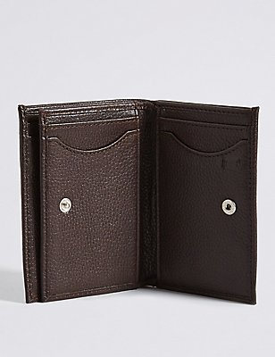 Leather Slim Tri Fold Id Wallet with Cardsafe™, BROWN, catlanding