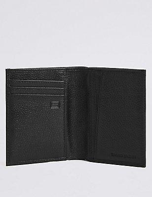 Leather Slim Bi Fold Card Wallet with Cardsafe™, BLACK, catlanding