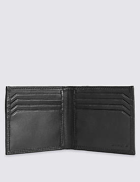 Leather Bi Fold Wallet & Credit Card Set, BLACK, catlanding