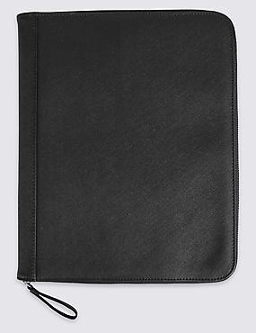 Textured Saffiano Slim Folio, BLACK, catlanding