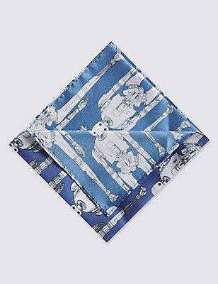Star Wars™ Pure Silk Pocket Square, BLUE/GREY, catlanding