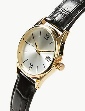 Classic Roman Date Watch, BLACK, catlanding