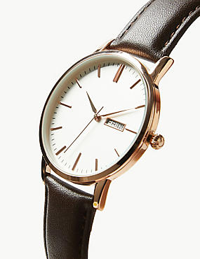 Slim Day Date Watch, BROWN, catlanding