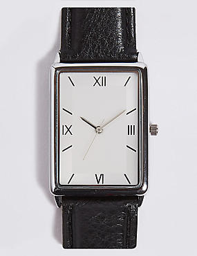 Slim Rectangle Watch, BLACK, catlanding
