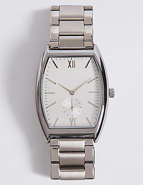 Classic Rectangle Metal Bracelet Watch, WHITE MIX, catlanding