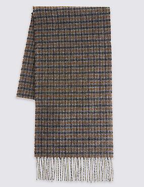 Écharpe 100% laine à petits carreaux, BLEU MARINE ASSORTI, catlanding