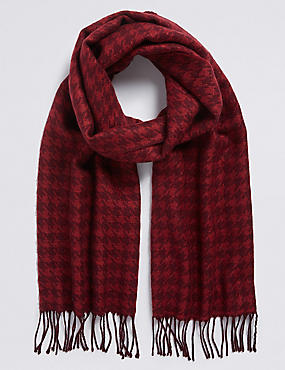 Wool Blend Wider Width Dogstooth Woven Scarf for €5 when you spend €40, DARK RED MIX, catlanding