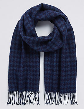 Wool Blend Wider Width Dogstooth Woven Scarf for €5 when you spend €40, NAVY MIX, catlanding