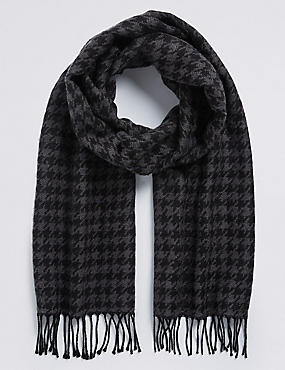 Wool Blend Wider Width Dogstooth Woven Scarf for €5 when you spend €40, CHARCOAL MIX, catlanding