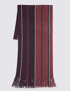 Striped Raschel Scarf, PINK, catlanding