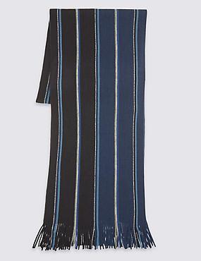 Striped Raschel Scarf, NAVY, catlanding