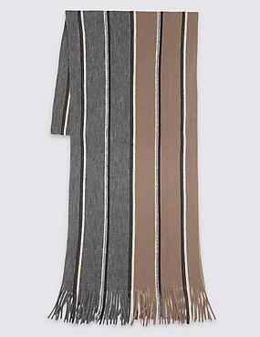 Striped Raschel Scarf, OATMEAL, catlanding