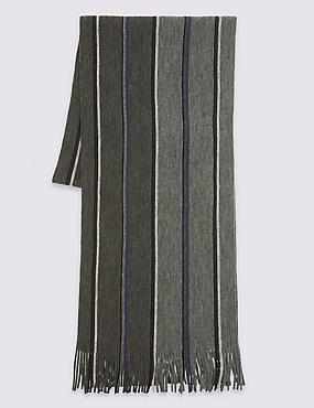 Striped Raschel Scarf, GREY, catlanding