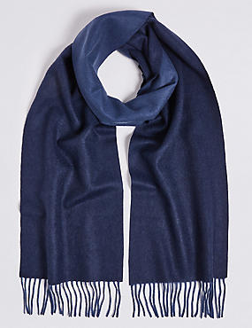 Reversible Pure Cashmere Woven Scarf, MIDNIGHT, catlanding