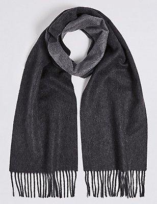 Reversible Pure Cashmere Woven Scarf, CHARCOAL, catlanding
